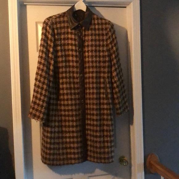 Carole Little Jackets & Blazers - Brown & Beige Tweed & Faux Leather Coat